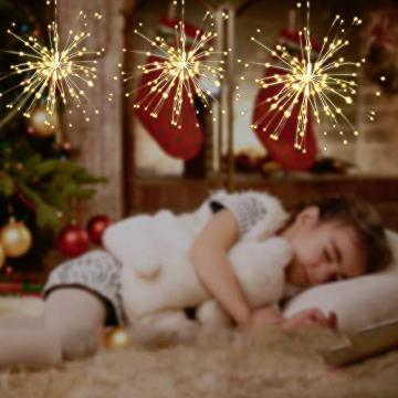 Lixada Feuerwerk LED Licht, 150 LEDs Weihnachten Lichterketten mit Fernbedienung dekorative hängende Starburst Lampe für Indoor Outdoor Home Parties Hochzeit Hofgarten (2 Stück) - 5