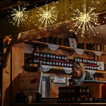 Lixada Feuerwerk LED Licht, 150 LEDs Weihnachten Lichterketten mit Fernbedienung dekorative hängende Starburst Lampe für Indoor Outdoor Home Parties Hochzeit Hofgarten (2 Stück) - 6