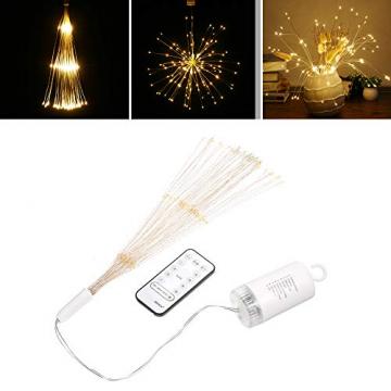 Lixada Feuerwerk LED Licht, 150 LEDs Weihnachten Lichterketten mit Fernbedienung dekorative hängende Starburst Lampe für Indoor Outdoor Home Parties Hochzeit Hofgarten (2 Stück) - 9