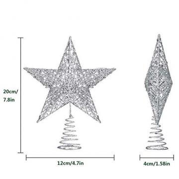 Lodou Stern für Weihnachtsbaumspitze, 20,3 cm, goldglitzernd, 5-armiger Stern, Baumspitze für Weihnachtsbaum, Verzierung, für Weihnachten, Zuhause, Party, Festtagsdekoration - 2