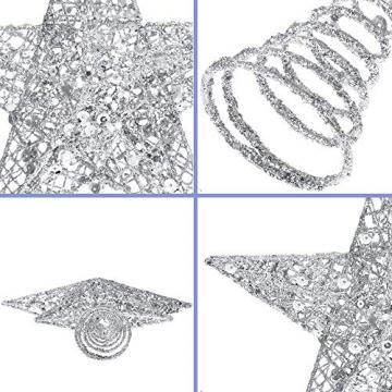 Lodou Stern für Weihnachtsbaumspitze, 20,3 cm, goldglitzernd, 5-armiger Stern, Baumspitze für Weihnachtsbaum, Verzierung, für Weihnachten, Zuhause, Party, Festtagsdekoration - 3