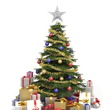 Lodou Stern für Weihnachtsbaumspitze, 20,3 cm, goldglitzernd, 5-armiger Stern, Baumspitze für Weihnachtsbaum, Verzierung, für Weihnachten, Zuhause, Party, Festtagsdekoration - 4