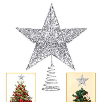 Lodou Stern für Weihnachtsbaumspitze, 20,3 cm, goldglitzernd, 5-armiger Stern, Baumspitze für Weihnachtsbaum, Verzierung, für Weihnachten, Zuhause, Party, Festtagsdekoration - 1