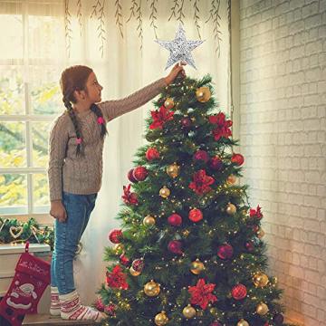 Lodou Stern für Weihnachtsbaumspitze, 20,3 cm, goldglitzernd, 5-armiger Stern, Baumspitze für Weihnachtsbaum, Verzierung, für Weihnachten, Zuhause, Party, Festtagsdekoration - 5