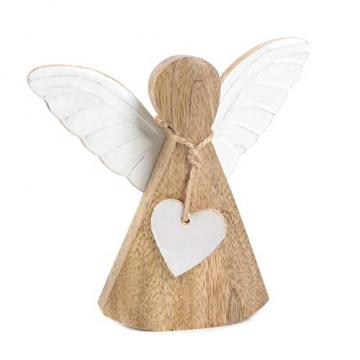 Logbuch-Verlag Engel Figur aus Mangoholz braun weiß 15 cm - Holzengel Dekofigur als Weihnachtsdeko & Geschenkidee - 1