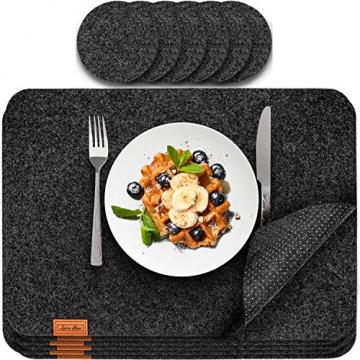 Luana Rose Platzsets aus Filz 12er Set in Anthrazit - Tischset abwischbar - 44x32 cm Filzuntersetzer - Hochwertige Platzdeckchen abwaschbar in Grau - Tischuntersetzer Platzset + Glas Untersetzer-Set - 1