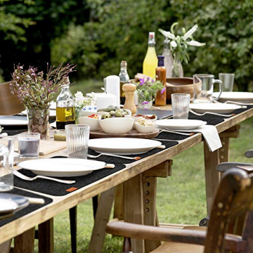 Luana Rose Platzsets aus Filz 12er Set in Anthrazit - Tischset abwischbar - 44x32 cm Filzuntersetzer - Hochwertige Platzdeckchen abwaschbar in Grau - Tischuntersetzer Platzset + Glas Untersetzer-Set - 6