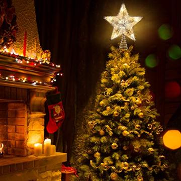 Luxspire Weihnachtsbaumspitze Stern, Glitzerstern Weihnachtsbaum Topper Batteriebetriebener Christbaumspitze Beleuchtete Metall Baumspitze LED Baumkronen Deko Licht Tannenbaum Weihnachtsdeko, Silber - 3