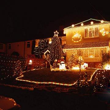 LZQ LED Lichterkette Außen Innen Wasserdicht IP44 Weihnachtsbeleuchtung mit 8 Leuchtmodi - für Innen Außen Garten Party Deko (30M 300 LED Warmweiß) - 5