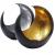 MAADES Windlicht Laterne orientalisch Moon Groß 20cm Gold | Orientalische Vintage Teelichthalter Schwarz von außen und Goldfarben innen | Marokkanische Windlichter aus Metall als Dekoration - 3