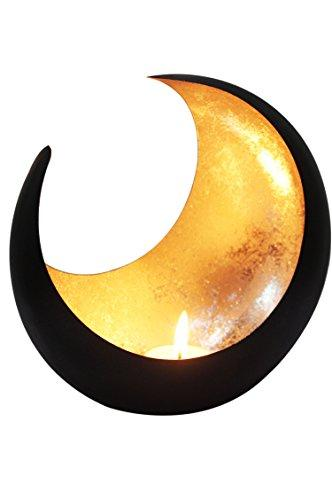 MAADES Windlicht Laterne orientalisch Moon Groß 20cm Gold | Orientalische Vintage Teelichthalter Schwarz von außen und Goldfarben innen | Marokkanische Windlichter aus Metall als Dekoration - 1