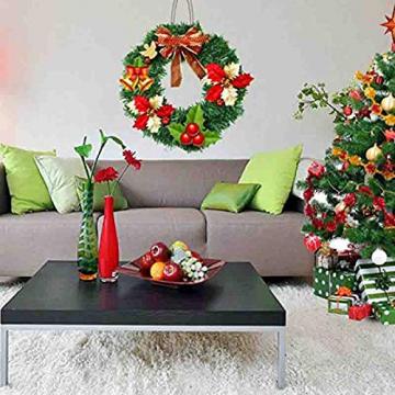 Mackur Tannenkranz Türkranz Weihnachtskranz Künstlicher Deko Kranz Adventskranz Grün für Wänden oder Türen 1 Stück (40CM) - 2