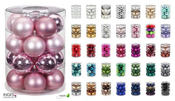 Magic Weihnachtskugeln Glas 6cm, 20 STK. Christbaumkugeln, Farbe: Perle - Champagner Opal matt - 2