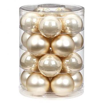 Magic Weihnachtskugeln Glas 6cm, 20 STK. Christbaumkugeln, Farbe: Perle - Champagner Opal matt - 1