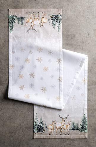 Maison d' Hermine Deer In The Woods Tischläufer aus 100% Baumwolle für Partys | Abendessen | Feiertage | Küche | Thanksgiving/Weihnachten (50 cm x 150 cm) - 2