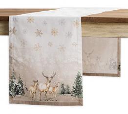 Maison d' Hermine Deer In The Woods Tischläufer aus 100% Baumwolle für Partys | Abendessen | Feiertage | Küche | Thanksgiving/Weihnachten (50 cm x 150 cm) - 1