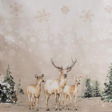 Maison d' Hermine Deer In The Woods Tischläufer aus 100% Baumwolle für Partys | Abendessen | Feiertage | Küche | Thanksgiving/Weihnachten (50 cm x 150 cm) - 4