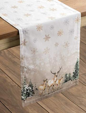 Maison d' Hermine Deer In The Woods Tischläufer aus 100% Baumwolle für Partys | Abendessen | Feiertage | Küche | Thanksgiving/Weihnachten (50 cm x 150 cm) - 5