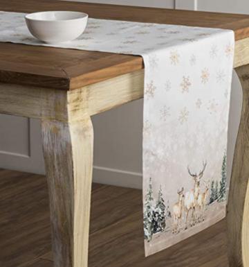 Maison d' Hermine Deer In The Woods Tischläufer aus 100% Baumwolle für Partys | Abendessen | Feiertage | Küche | Thanksgiving/Weihnachten (50 cm x 150 cm) - 6