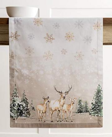 Maison d' Hermine Deer In The Woods Tischläufer aus 100% Baumwolle für Partys | Abendessen | Feiertage | Küche | Thanksgiving/Weihnachten (50 cm x 150 cm) - 8