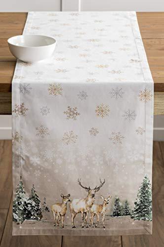 Maison d' Hermine Deer In The Woods Tischläufer aus 100% Baumwolle für Partys | Abendessen | Feiertage | Küche | Thanksgiving/Weihnachten (50 cm x 150 cm) - 9