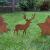 Metall Stecker Baum Stern Rentier 3erSet Rost Stecken Beetstecker Tierfigur Advent Weihnachten Hirsch Elch Rasenstecker Gartenstecker Blumenstecker Winter Garten Deko Gartendekoration braun (Motiv 2) - 3
