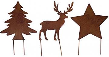 Metall Stecker Baum Stern Rentier 3erSet Rost Stecken Beetstecker Tierfigur Advent Weihnachten Hirsch Elch Rasenstecker Gartenstecker Blumenstecker Winter Garten Deko Gartendekoration braun (Motiv 2) - 1