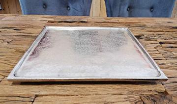 MichaelNoll Dekoteller Dekotablett Schale Dekoplatte Aluminium Silber XL 25x25x2 cm (35x35x2 cm) - 1