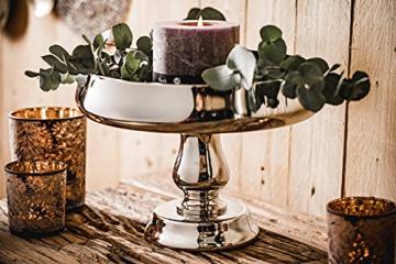 MichaelNoll Dekoteller Schale Servierplatte Aluminium Silber Luxus Poliert - Moderne Dekoschale aus Metall - Tischdeko Hochzeit - Dekoration für Wohnzimmer, Esszimmer oder Küche - 28 cm - 6