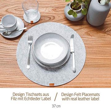 Miqio® - Filz und Leder - Design Platzsets (Rund) - Set mit 6 waschbaren Premium Tischsets 37 cm und 6 Getränkeuntersetzern (Graumeliert)… - 3