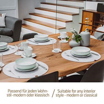 Miqio® - Filz und Leder - Design Platzsets (Rund) - Set mit 6 waschbaren Premium Tischsets 37 cm und 6 Getränkeuntersetzern (Graumeliert)… - 4