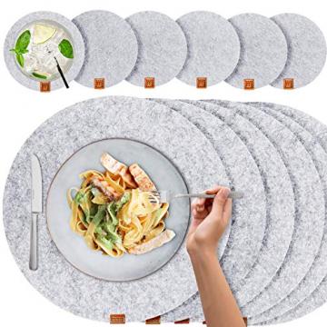 Miqio® - Filz und Leder - Design Platzsets (Rund) - Set mit 6 waschbaren Premium Tischsets 37 cm und 6 Getränkeuntersetzern (Graumeliert)… - 1