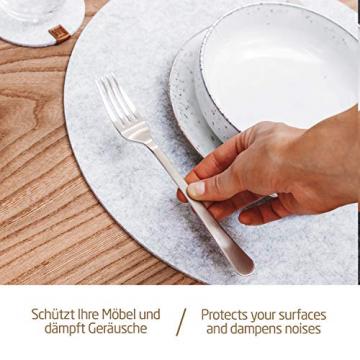 Miqio® - Filz und Leder - Design Platzsets (Rund) - Set mit 6 waschbaren Premium Tischsets 37 cm und 6 Getränkeuntersetzern (Graumeliert)… - 5