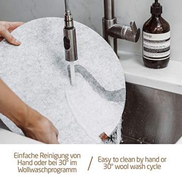 Miqio® - Filz und Leder - Design Platzsets (Rund) - Set mit 6 waschbaren Premium Tischsets 37 cm und 6 Getränkeuntersetzern (Graumeliert)… - 6