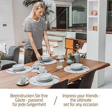 Miqio® - Filz und Leder - Design Platzsets (Rund) - Set mit 6 waschbaren Premium Tischsets 37 cm und 6 Getränkeuntersetzern (Graumeliert)… - 7