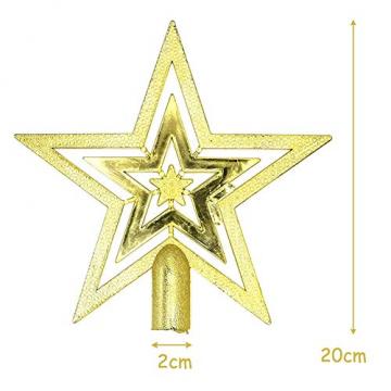 NALCY Weihnachtsbaum-Spitze Baumspitze Stern, Weihnachtsbaumspitze Fünfzackiger Stern Christbaumschmuck, Glitzer Goldener Pentagramm Top Star, Weihnachtsbaum Kunststoff Deko - Gold (20cm) - 2