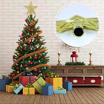 NALCY Weihnachtsbaum-Spitze Baumspitze Stern, Weihnachtsbaumspitze Fünfzackiger Stern Christbaumschmuck, Glitzer Goldener Pentagramm Top Star, Weihnachtsbaum Kunststoff Deko - Gold (20cm) - 3