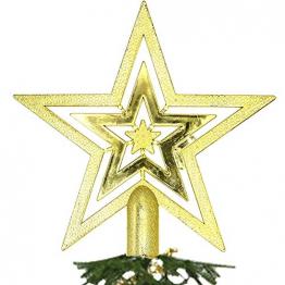 NALCY Weihnachtsbaum-Spitze Baumspitze Stern, Weihnachtsbaumspitze Fünfzackiger Stern Christbaumschmuck, Glitzer Goldener Pentagramm Top Star, Weihnachtsbaum Kunststoff Deko - Gold (20cm) - 1