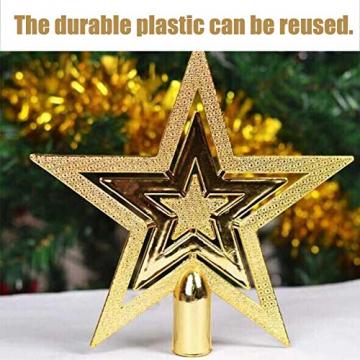 NALCY Weihnachtsbaum-Spitze Baumspitze Stern, Weihnachtsbaumspitze Fünfzackiger Stern Christbaumschmuck, Glitzer Goldener Pentagramm Top Star, Weihnachtsbaum Kunststoff Deko - Gold (20cm) - 5