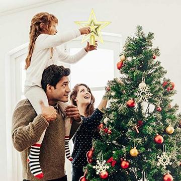 NALCY Weihnachtsbaum-Spitze Baumspitze Stern, Weihnachtsbaumspitze Fünfzackiger Stern Christbaumschmuck, Glitzer Goldener Pentagramm Top Star, Weihnachtsbaum Kunststoff Deko - Gold (20cm) - 6
