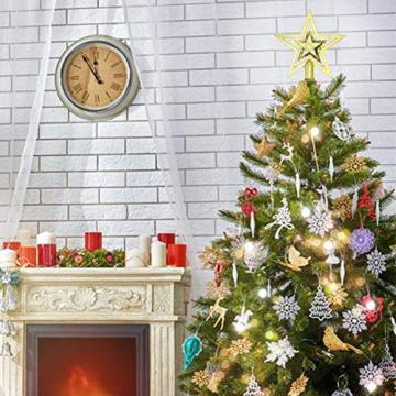 NALCY Weihnachtsbaum-Spitze Baumspitze Stern, Weihnachtsbaumspitze Fünfzackiger Stern Christbaumschmuck, Glitzer Goldener Pentagramm Top Star, Weihnachtsbaum Kunststoff Deko - Gold (20cm) - 7