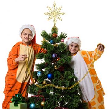 OSALADI Weihnachtsbaum Topper Beleuchtet Acht Spitzen Stern Baum Topper mit Lichterketten Eisendraht Baumkronen Ornament für Weihnachtsbaum Party Indoor Dekoration (Gold) - 2