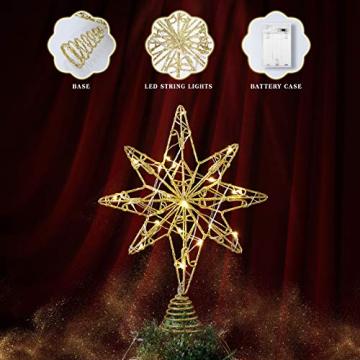 OSALADI Weihnachtsbaum Topper Beleuchtet Acht Spitzen Stern Baum Topper mit Lichterketten Eisendraht Baumkronen Ornament für Weihnachtsbaum Party Indoor Dekoration (Gold) - 3