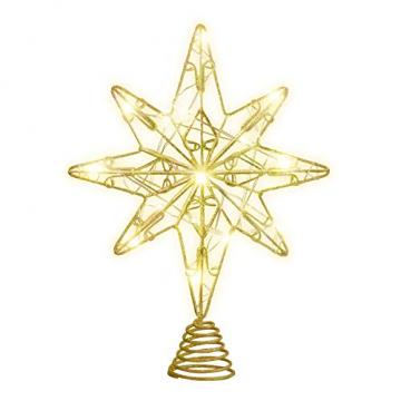OSALADI Weihnachtsbaum Topper Beleuchtet Acht Spitzen Stern Baum Topper mit Lichterketten Eisendraht Baumkronen Ornament für Weihnachtsbaum Party Indoor Dekoration (Gold) - 1