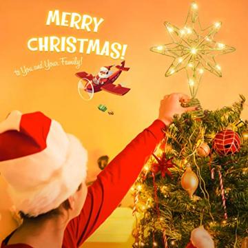 OSALADI Weihnachtsbaum Topper Beleuchtet Acht Spitzen Stern Baum Topper mit Lichterketten Eisendraht Baumkronen Ornament für Weihnachtsbaum Party Indoor Dekoration (Gold) - 5