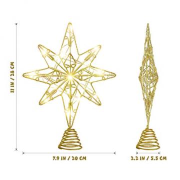 OSALADI Weihnachtsbaum Topper Beleuchtet Acht Spitzen Stern Baum Topper mit Lichterketten Eisendraht Baumkronen Ornament für Weihnachtsbaum Party Indoor Dekoration (Gold) - 6