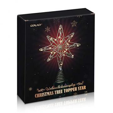 OSALADI Weihnachtsbaum Topper Beleuchtet Acht Spitzen Stern Baum Topper mit Lichterketten Eisendraht Baumkronen Ornament für Weihnachtsbaum Party Indoor Dekoration (Gold) - 7
