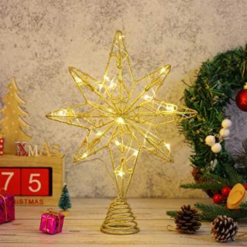 OSALADI Weihnachtsbaum Topper Beleuchtet Acht Spitzen Stern Baum Topper mit Lichterketten Eisendraht Baumkronen Ornament für Weihnachtsbaum Party Indoor Dekoration (Gold) - 8