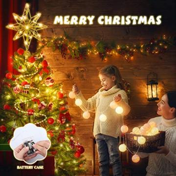 OSALADI Weihnachtsbaum Topper Beleuchtet Acht Spitzen Stern Baum Topper mit Lichterketten Eisendraht Baumkronen Ornament für Weihnachtsbaum Party Indoor Dekoration (Gold) - 9