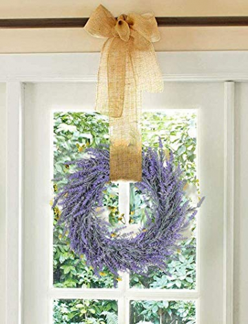 Pauwer 40 cm Künstliche Lavendel Haustür Kranz Im Freien Blume Kranz für Haustür Hängen Wand Fenster Hochzeit Party Decor - 2